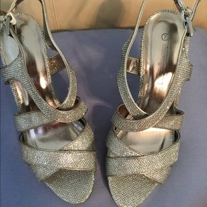 Charming Charlie's Pewter/Silver Sparkle Heels